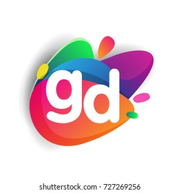 Letter GD logo with colorful splash background, letter combination logo design for creative industry, web, business and company.