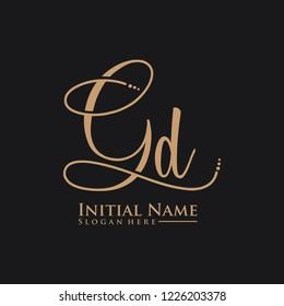Letter Gd Logo. Initial Letter Design Vector Luxury Colors