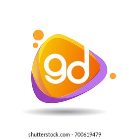 Letter GD logo in triangle splash and colorful background, letter combination logo design for creative industry, web, business and company.