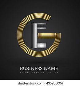 Letter EG or GE linked logo design circle G shape. Elegant gold and silver colored, symbol for your business name or company identity.