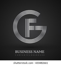 Letter GF or FG linked logo design circle G shape. Elegant silver colored, symbol for your business name or company identity.