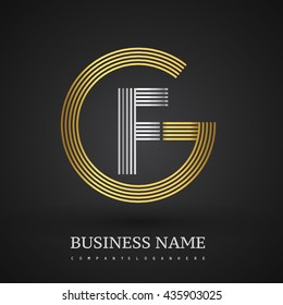 Letter GF or FG linked logo design circle G shape. Elegant gold and silver colored, symbol for your business name or company identity.