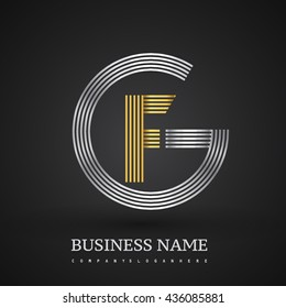 Letter GF or FG linked logo design circle G shape. Elegant silver and gold colored, symbol for your business name or company identity.