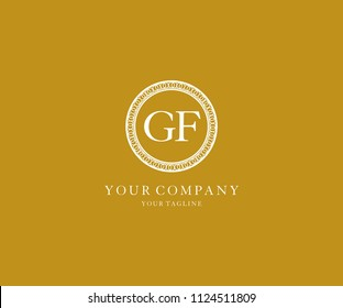 Letter GF Inside Abstract Circle Polygonal Luxury Logo
