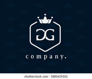 Letter GG, G luxury crown monogram with the hexagon. Elegant emblem and graceful calligraphy. The vintage symbol for book design, brand name, business card, restaurant, boutique, hotel, cafe, badge.
