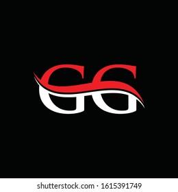 letter GG Logo Design Red White With Black Background. Initial GG Vector Illustration