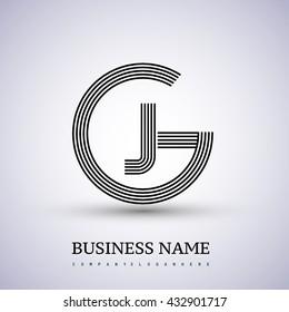 Letter GJ or JG linked logo design circle G shape. Elegant black colored, symbol for your business name or company identity.