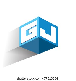 Letter GJ logo in hexagon shape and blue background, cube logo with letter design for company identity.