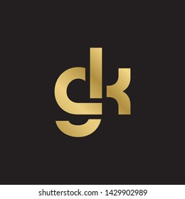 Letter gk linked lowercase logo design template elements. Gold letter Isolated on black  background. Suitable for business, consulting group company.