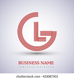 Letter GL linked logo design circle G shape. Elegant red colored, symbol for your business name or company identity