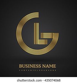 Letter GL linked logo design circle G shape. Elegant golden colored, symbol for your business name or company identity.