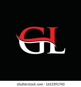 letter GL Logo Design Red White With Black Background. Initial GL Vector Illustration