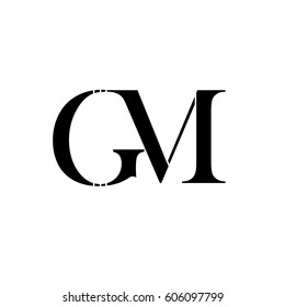 letter G,M black color logo vector