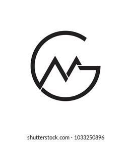 letter gm circle linked logo vector