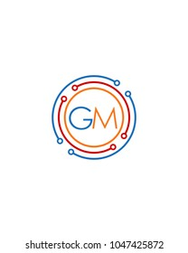 Letter GM logo circle frame monogram, mockup line round border design element, red blu and gray graphic tech geometric shape.