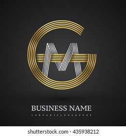 Letter GM or MG linked logo design circle G shape. Elegant gold and silver colored, symbol for your business name or company identity.