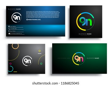 Letter GN logotype with colorful circle, letter combination logo design with ring, sets of business card for company identity, creative industry, web, isolated on white background.