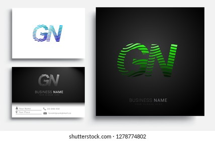 Letter GN logotype with colorful circle, with striped composition letter, sets of business card for company identity, creative industry, web.