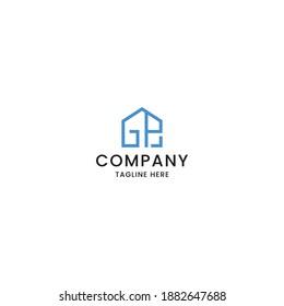 Letter GP house logo icon design template vector