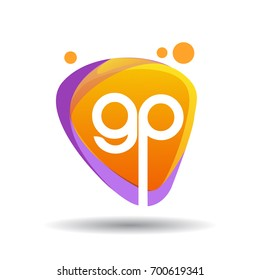Letter GP logo in triangle splash and colorful background, letter combination logo design for creative industry, web, business and company.