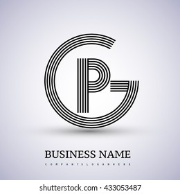 Letter GP or PG linked logo design circle G shape. Elegant black colored, symbol for your business name or company identity