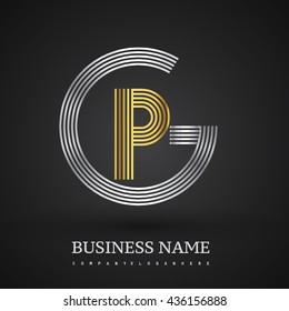 Letter GP or PG linked logo design circle G shape. Elegant silver and gold colored, symbol for your business name or company identity.