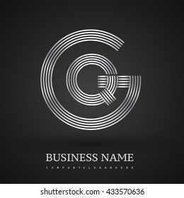 Letter GQ or QG linked logo design circle G shape. Elegant silver colored, symbol for your business name or company identity.