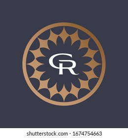 Letter GR Logo Luxury Old Navy Gold in Circle of diamond
