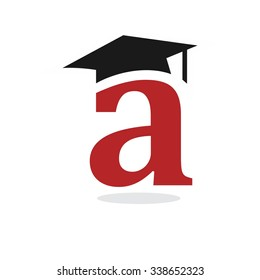 letter a with graduation cap logo vector.