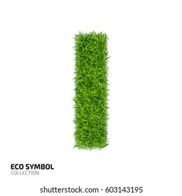 Letter of grass alphabet. Grass letter I isolated on white background. Symbol with the green lawn texture. Eco symbol collection. Vector illustration