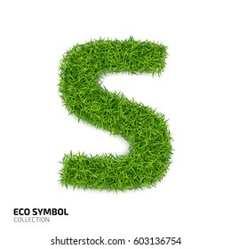 Letter of grass alphabet. Grass letter S isolated on white background. Symbol with the green lawn texture. Eco symbol collection. Vector illustration