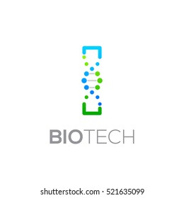 Letter I Green and Blue with abstract biotechnology logotype,Technology DNA vector concept