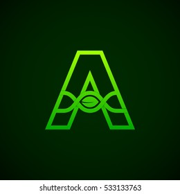 Letter A Green leaf with abstract biotechnology logotype. Medicine, science, laboratory,DNA vector concept