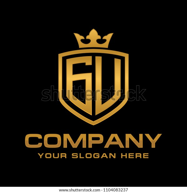 Letter GU initial with shield and crown, Luxury logo design vector