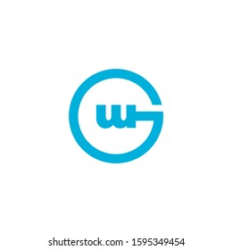 letter gw circle geometric simple logo vector
