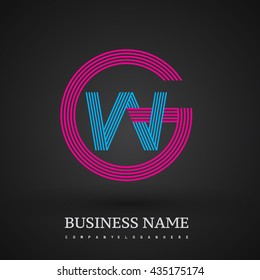Letter GW or WG linked logo design circle G shape. Elegant red and blue colored, symbol for your business name or company identity.