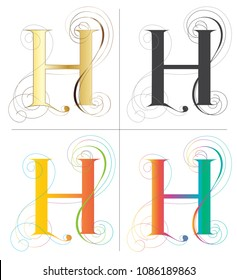 Letter H alphabet font vector design 4 color Europe style isolate on white has clipping paths.