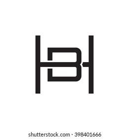 letter H and B monogram square shape logo black
