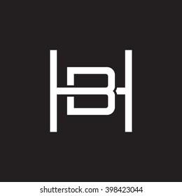 letter H and B monogram square shape logo white black background