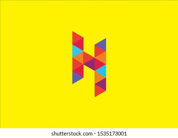 "Letter ""H"" big logo pack. Isometric, minimal, line, colorful, ribbon, geometric, luxury vector monograms - Vector"