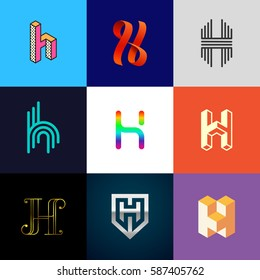 "Letter ""H"" big logo pack. Isometric, minimal, line, colorful, ribbon, geometric, luxury vector monograms. Eps10 format."