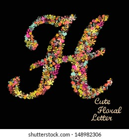 Letter h flowers images stock photos vectors shutterstock the letter h bright floral element of colorful alphabet made from flowers petals altavistaventures Gallery