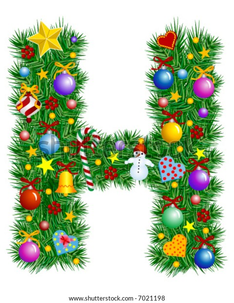 Letter H - Christmas tree decoration - Alphabet