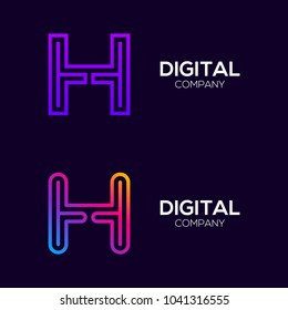 Letter H Colorful logotype with Three Line, Square and Circle shape Maze Labyrinth, Technology and Digital Connection Link concept for your Corporate identity