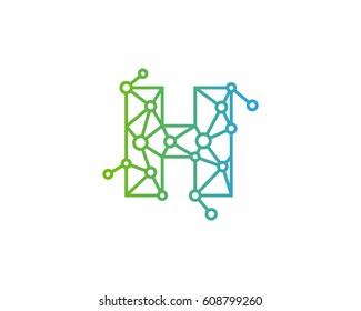 Letter H Connected Circle Network Logo Design Element