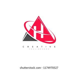 Letter H Corporate Modern Triangle Ring Orbit Swoosh Logo