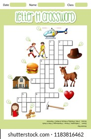 Letter H crossword template illustration