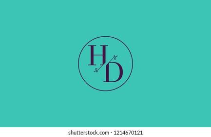 LETTER H AND D FLOWER LOGO WITH CIRCLE FRAME FOR LOGO DESIGN OR ILLUSTRATION USE