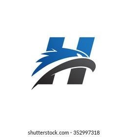 letter h eagle head logo blue