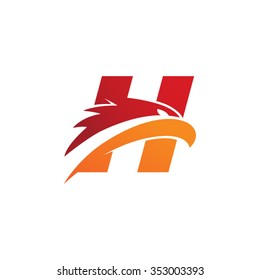 letter H eagle head red orange logo